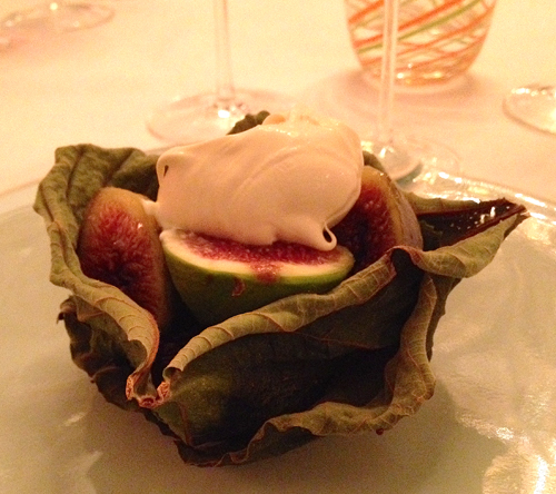 Roasted figs with creme fraiche